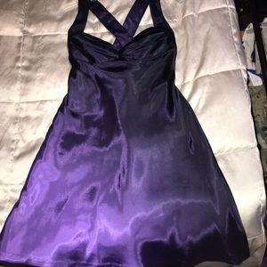 Black to purple faded satin cross back dress